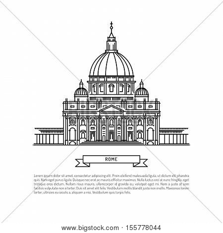 World famous St. Peter Basilica Greatest Landmarks of europe. Linear vector icon for Vatican Rome Italy.