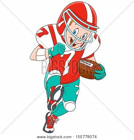 Cute and happy cartoon boy playing rugby (american football) isolated on white background. Childish vector illustration and colorful book page for kids.