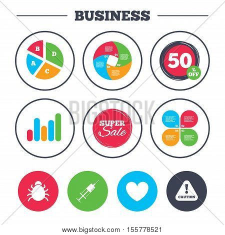 Business pie chart. Growth graph. Bug and vaccine syringe injection icons. Heart and caution with exclamation sign symbols. Super sale and discount buttons. Vector