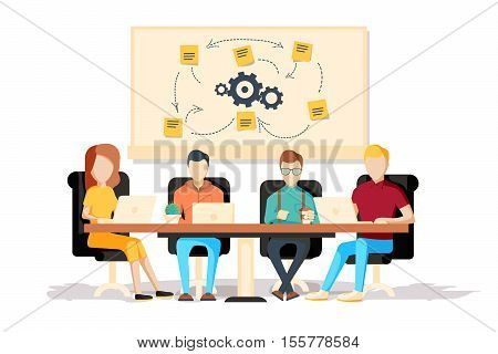 Team working together on a big IT startup business. Strategy planning meeting. SCRUM task board hanging in a team room full of tasks on sticky note cards. Flat style isolated vector illustration.