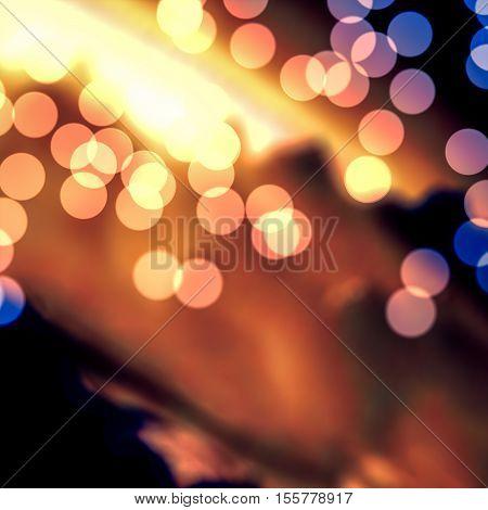 Golden bokeh light circles blurry background illustration