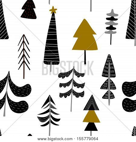 Seamless Hand Drawn Winter Pattern With Christmas Trees In Black  On White Background - Stock Vector