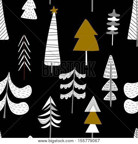 Seamless Hand Drawn Winter Pattern With Christmas Trees In White  On  Black Background - Stock Vecto