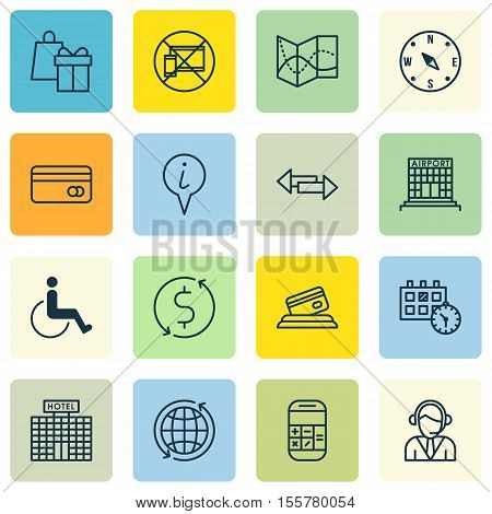 Set Of Traveling Icons On Info Pointer, Plastic Card And Operator Topics. Editable Vector Illustrati