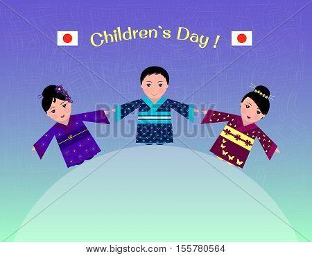 illustration of Japanese children in traditional costume-kimono in honor of children's day