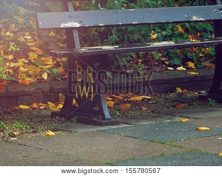 Seating Bench at Bradford-on-Avon station, Wiltshire, England on an Autumn Evening taken on 9 November 2016