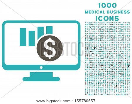 Sales Chart Monitoring vector bicolor icon with 1000 medical business icons. Set style is flat pictograms, grey and cyan colors, white background.
