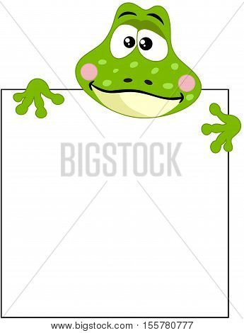Scalable vectorial image representing a funny frog with blank sign, isolated on white.