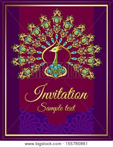 Wedding invitation or card with abstract background. Islam, Arabic, Indian, decoration with peacock jewels
