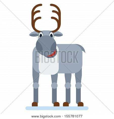 Santa Reindeer. Santa Claus reindeer. Distribution of gifts greetings to Christmas and New Year. Flat vector cartoon Santa Reindeer illustration. Objects isolated on a white background.