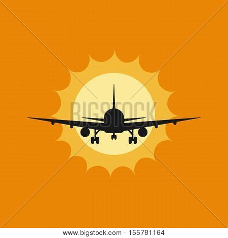 Vector illustration of aircraft to takeoff or landing at sunset