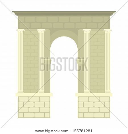 Arch vector architecture construction frame arch. Column entrance design arch and arch classical construction. History antique culture pillar exterior facade arch. Ornament gateway monuments