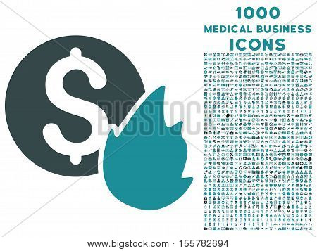 Burn Money vector bicolor icon with 1000 medical business icons. Set style is flat pictograms, soft blue colors, white background.