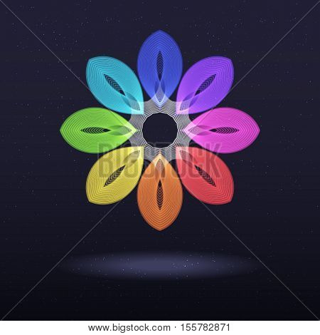 Abstract Rainbow Symbol - Octagonal Flower. Abstract Design Element on Dark Background.