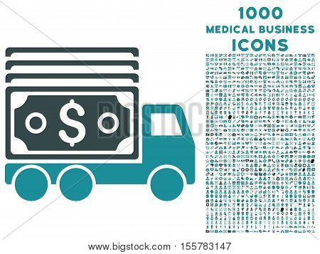 Cash Lorry vector bicolor icon with 1000 medical business icons. Set style is flat pictograms, soft blue colors, white background.