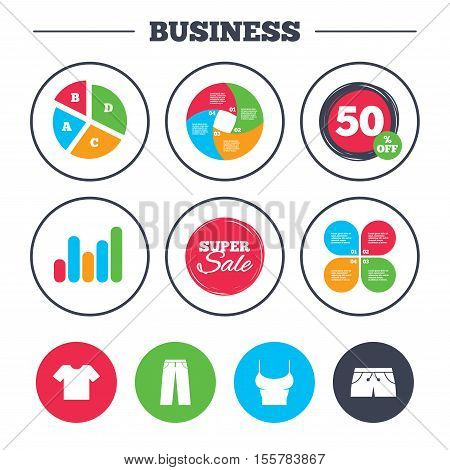 Business pie chart. Growth graph. Clothes icons. T-shirt and pants with shorts signs. Swimming trunks symbol. Super sale and discount buttons. Vector