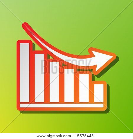 Declining Graph Sign. Contrast Icon With Reddish Stroke On Green Backgound.