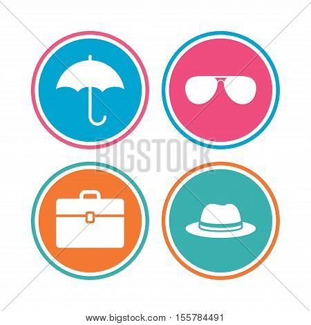 Clothing accessories icons. Umbrella and sunglasses signs. Headdress hat with business case symbols. Colored circle buttons. Vector