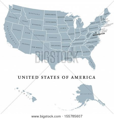 USA United States of America political map with capital Washington. The U.S. states including Alaska and Hawaii with their borders. Gray colored illustration with English labeling on white background.