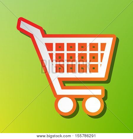 Shopping Cart Sign. Contrast Icon With Reddish Stroke On Green Backgound.