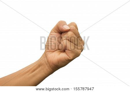 stranglehold of woman left hand on whith background showing strength or decisiveness symbol.