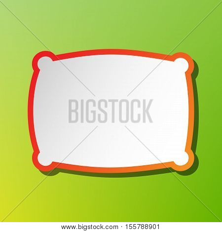 Pillow Sign Illustration. Contrast Icon With Reddish Stroke On Green Backgound.