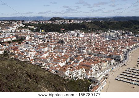 View from the cliff called Sitio of the fishing village of Nazare Portugal