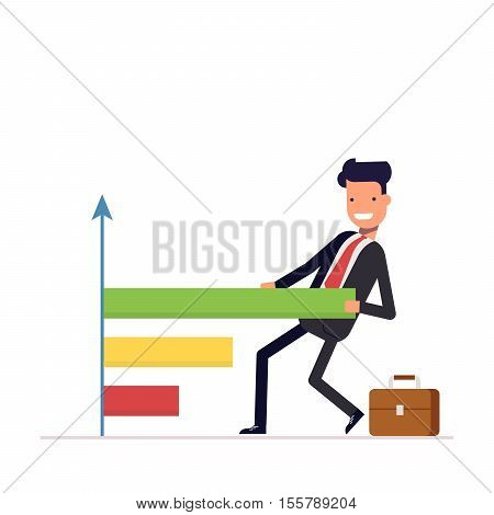 Businessman or manager draws the chart. People pulls a graph and diagram. Successful man in a business suit. Vector, illustration EPS10