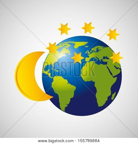 globe earth weather meteorology moon star vector illustration eps 10