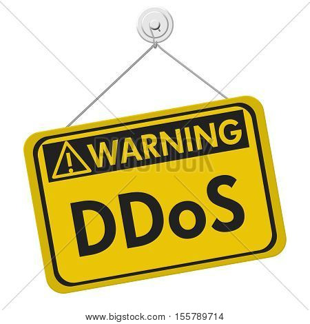 Denial of service warning sign A yellow warning hanging sign with text DDoS isolated over white 3D Illustration