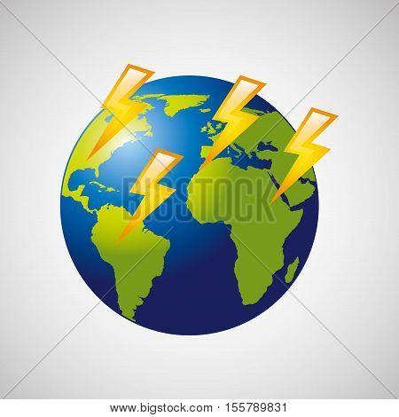 globe earth weather meteorology lightning vector illustration eps 10