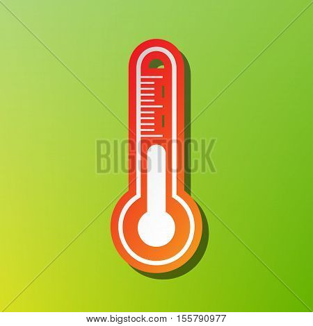 Meteo Diagnostic Technology Thermometer Sign. Contrast Icon With Reddish Stroke On Green Backgound.