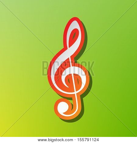 Music Violin Clef Sign. G-clef. Treble Clef. Contrast Icon With Reddish Stroke On Green Backgound.
