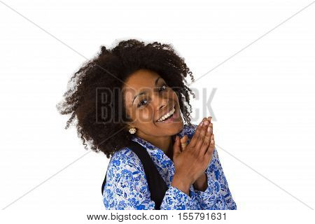 Laughing afro american woman isolated on white background