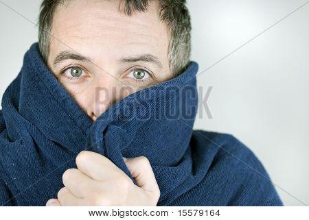 Man Bundled Up In Housecoat