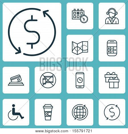 Set Of Traveling Icons On Money Trasnfer, World And Takeaway Coffee Topics. Editable Vector Illustra