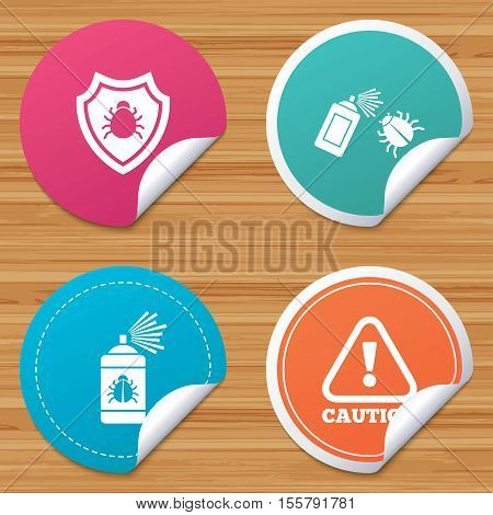 Round stickers or website banners. Bug disinfection icons. Caution attention and shield symbols. Insect fumigation spray sign. Circle badges with bended corner. Vector poster