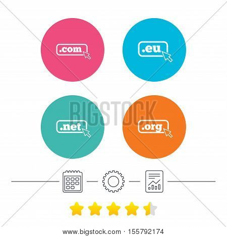 Top-level internet domain icons. Com, Eu, Net and Org symbols with cursor pointer. Unique DNS names. Calendar, cogwheel and report linear icons. Star vote ranking. Vector