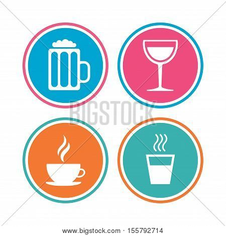 Drinks icons. Coffee cup and glass of beer symbols. Wine glass sign. Colored circle buttons. Vector