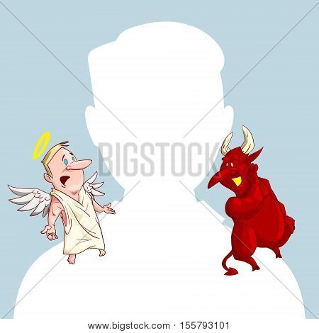 Blank male avatar or profile picture with devil and angel conscience characters on his shoulder advising him.