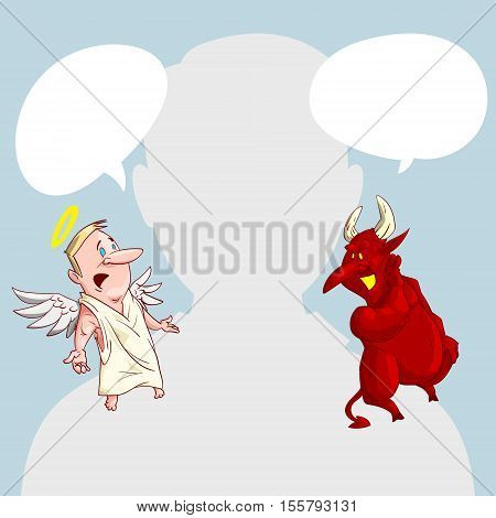 Blank male avatar or profile picture with angel and devil conscience characters on his shoulder advising him.