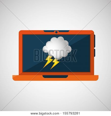 laptop technology. weather forecast cloud lightning icon graphic vector illustration eps 10