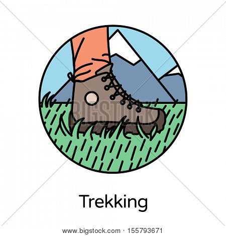 Trekking icon - circle line icons collection. Travel, tourism, sports & free time activity concept.