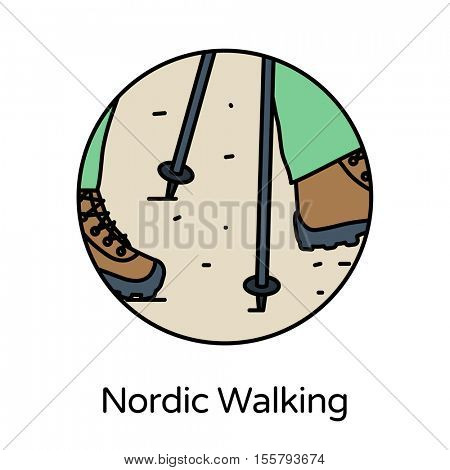 Nordic walking icon - circle line icons collection. Travel, tourism, sports & free time activity concept.