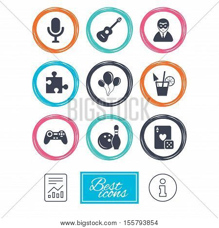 Game, bowling and puzzle icons. Entertainment signs. Casino, carnival and alcohol cocktail symbols. Report document, information icons. Vector