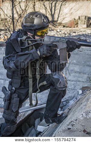 Russian Special Forces Training At A Military Training Ground