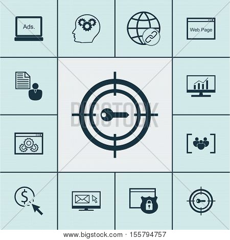 Set Of Seo Icons On Market Research, Report And Digital Media Topics. Editable Vector Illustration.