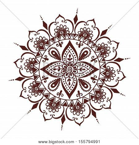 Floral mehendi pattern ornament. illustration mehendi pattern in asian textile style india tribal ornate. Ethnic ornamental lace vintage mehendi pattern mandala abstract textile