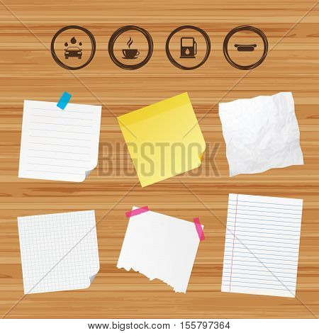 Business paper banners with notes. Petrol or Gas station services icons. Automated car wash signs. Hotdog sandwich and hot coffee cup symbols. Sticky colorful tape. Vector