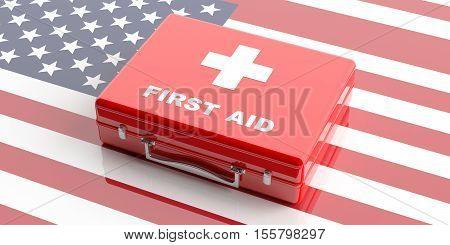3D Rendering First Aid Kit On Usa Flag Background